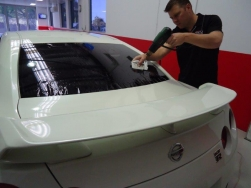 8. On virtually all back windows and some side windows, the film is installed on the outside 1st so we can heat shrink or shape the film to the curved glass. This is vital for a great result.